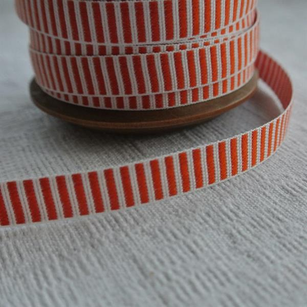 Orangeröd/vit tvärrandigt bomullsband 10mm