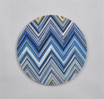 Glasunderlägg 4-p, Zig zag, blå