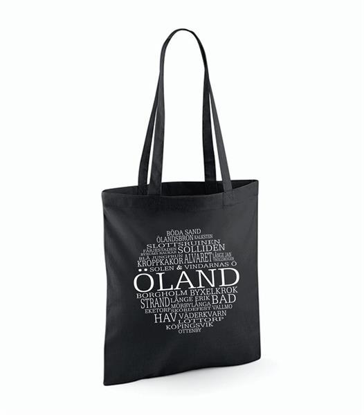 Tygkasse, Öland, svart/vit text