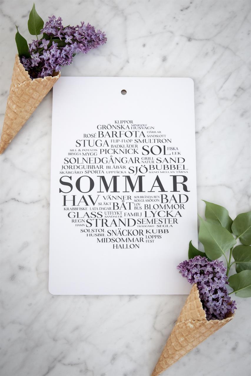 Skärbräda, Sommar, vit/svart text