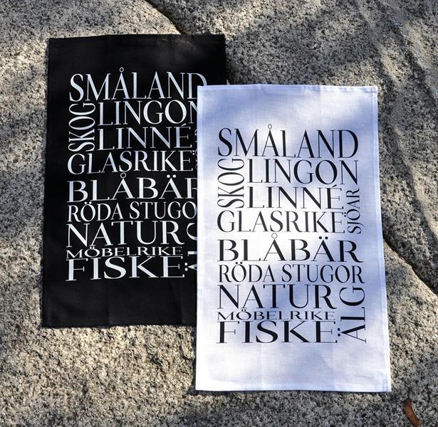 Kökshandduk, Småland, svart/vit text