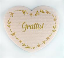 Disktrasa-hjärta, Grattis!, rosa/rosa-guld text