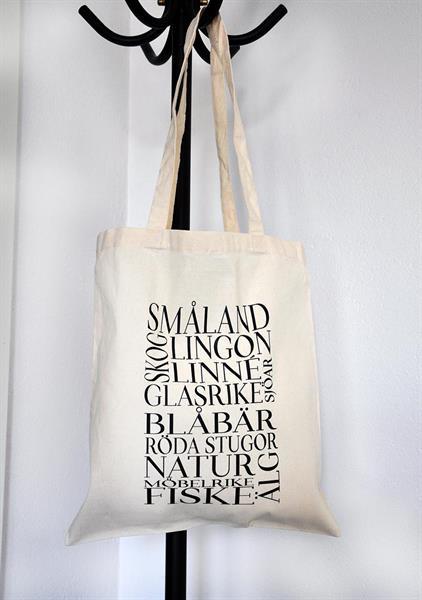 Tygkasse, Småland, natur/svart text