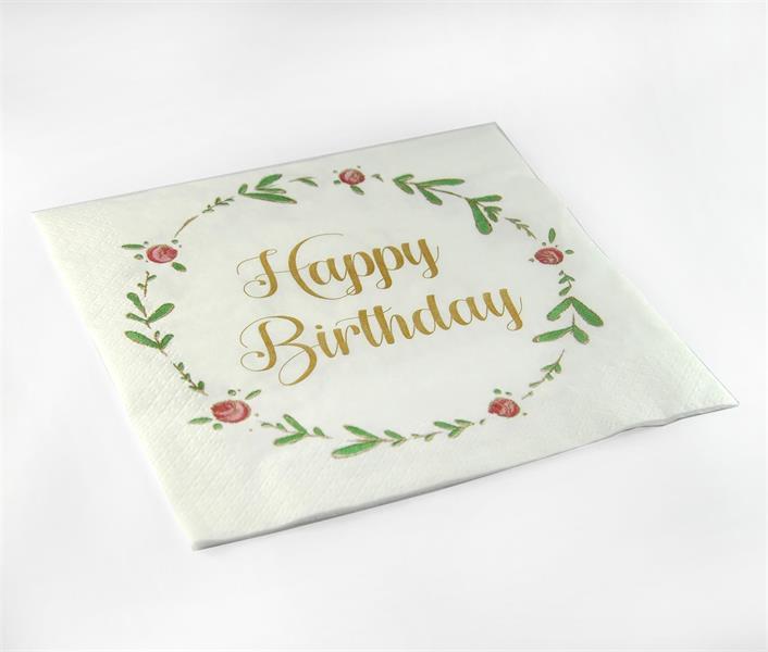Servetter, Happy birthday, vit/blomkrans, 20-p