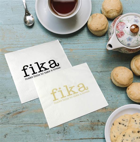 Servetter, Make time Fika, vit/guldtext, 25-p