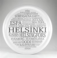 Bricka rund 31 cm, Helsinki, vit/svart text