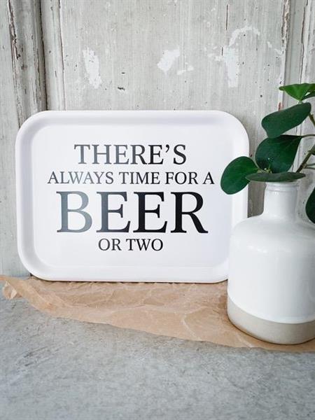 Bricka 27x20 cm, Beer, vit/svart text