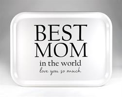 Bricka 27x20 cm, Best Mom, vit/svart text