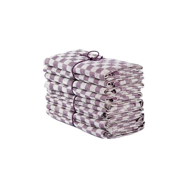 Handduk Schack lila-vit