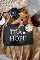 Bricka 27x20 cm, Where there is tea,svart/vit text