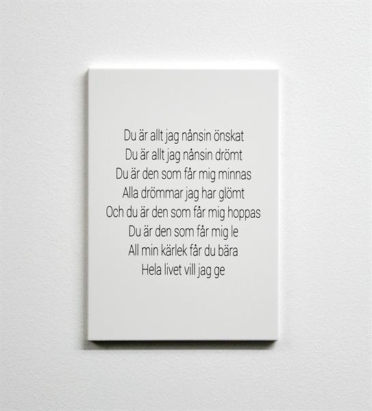 Trätavla A4, Du är allt, vit/svart text