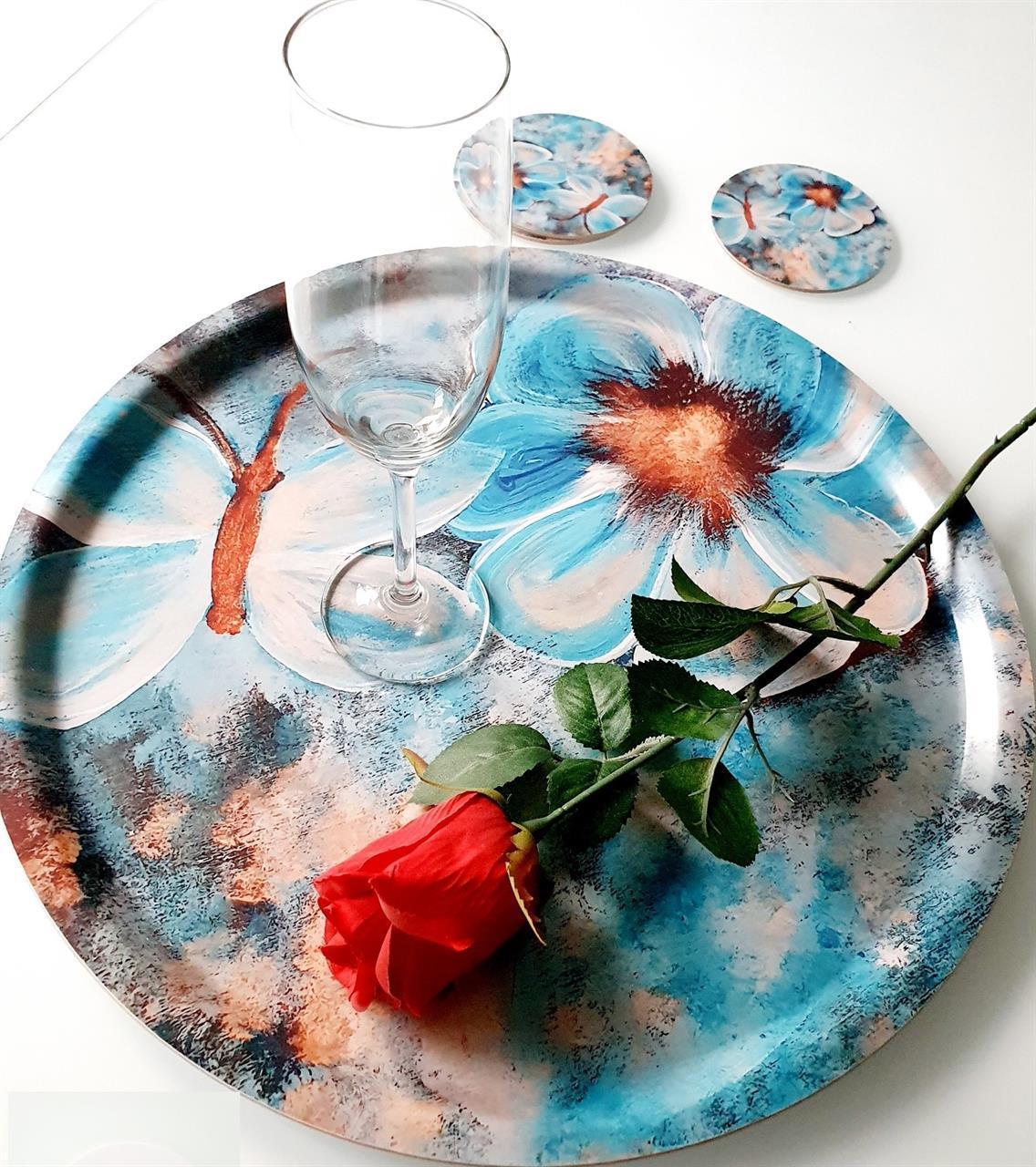 Rund bricka och glasunderlägg -set