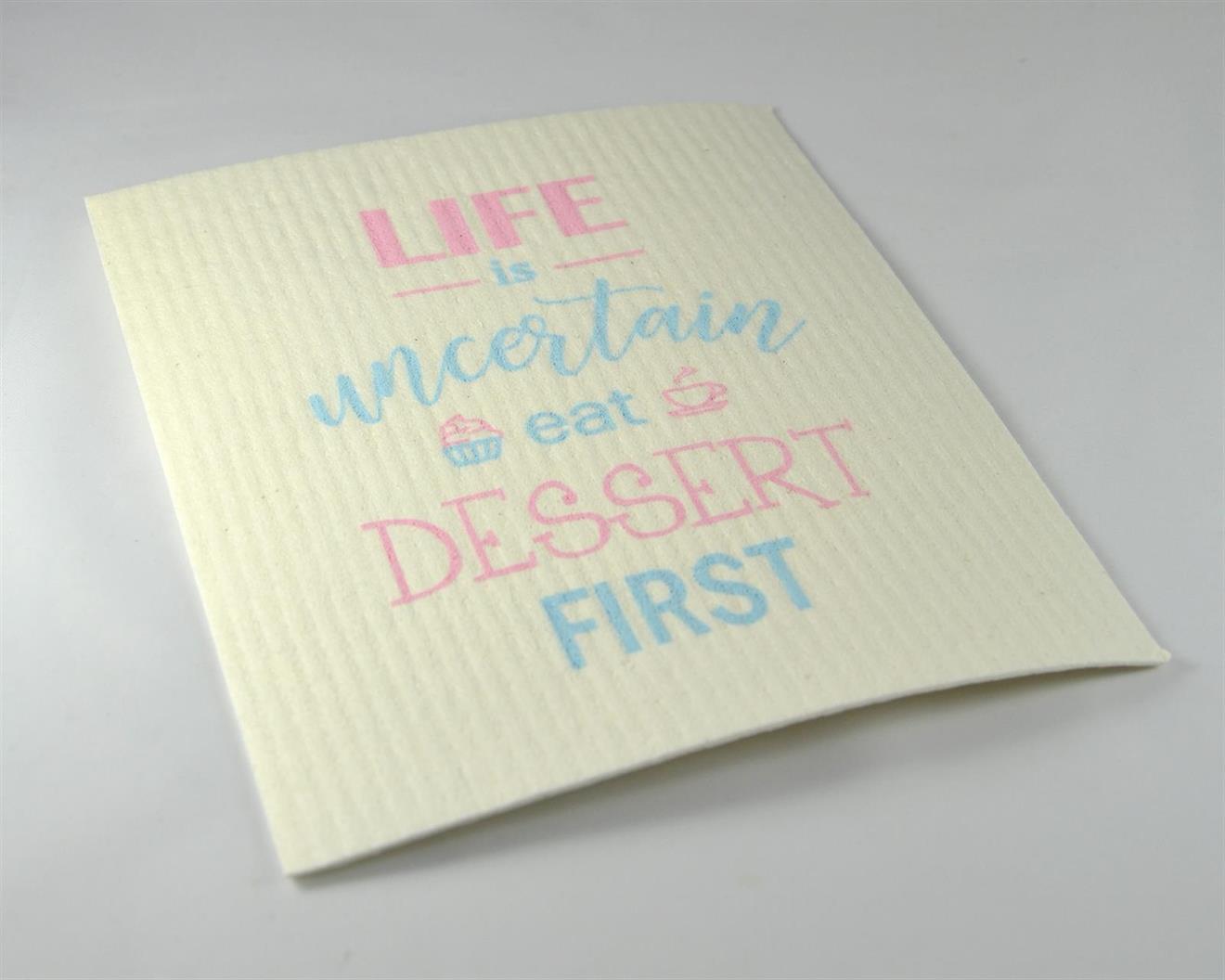 Disktrasa, Eat dessert first, vit/blå-rosa text