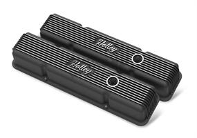 SBC HOLLEY VALVE COVERS,FINNED,W/EMIS,BL