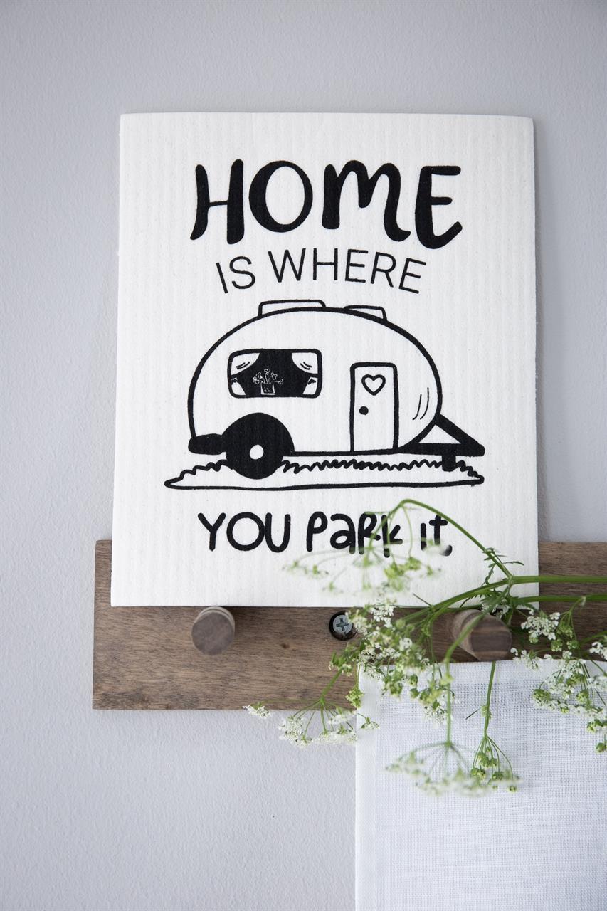Disktrasa, Home is/Husvagn, vit/svart text
