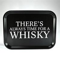 Bricka 27x20 cm, Whisky, svart/vit text