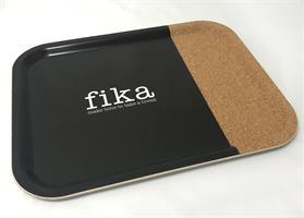 Bricka 36x28 cm kork, Make time Fika, svart/vit