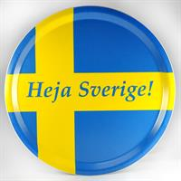Bricka rund 31 cm, Heja Sverige, blå/blå-gul text