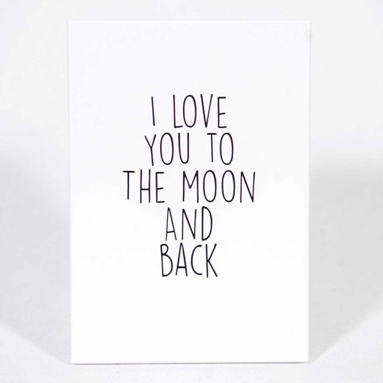 Trätavla A5, I love you to the moon,vit/svart text