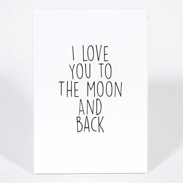 Trätavla A4, I love you to the moon,vit/svart text