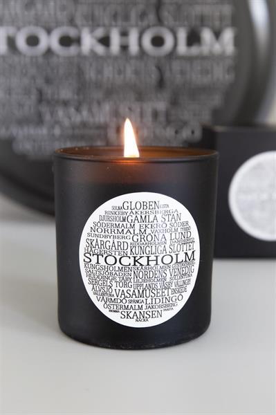Doftljus, Stockholm, svart/vit text