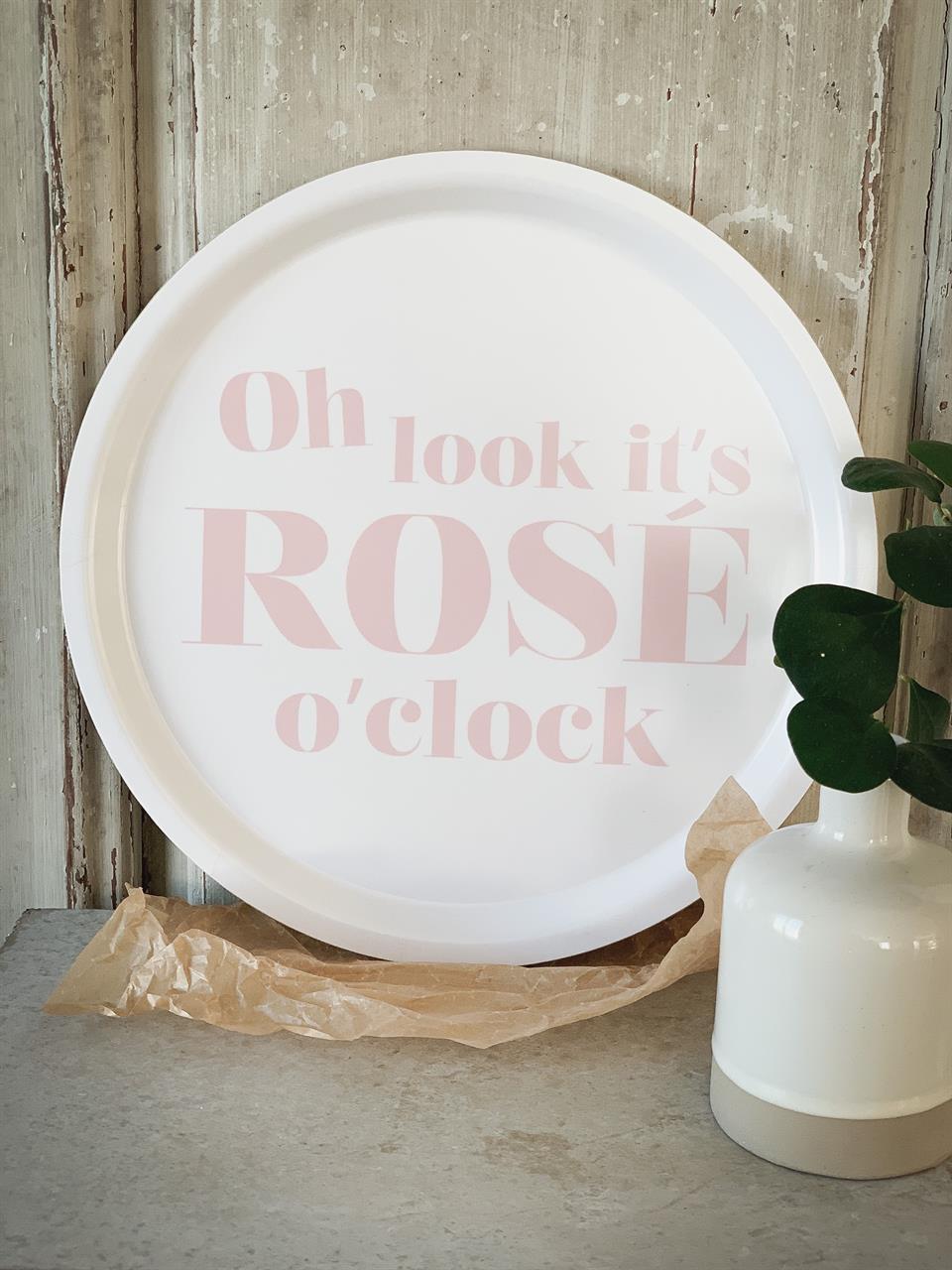 Bricka rund 31 cm, Rose o clock, vit/rosa text