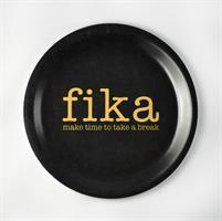 Glasunderlägg kant, Make time FIKA, svart/guldtext