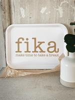 Bricka 27x20 cm, Make time FIKA, vit/guldtext