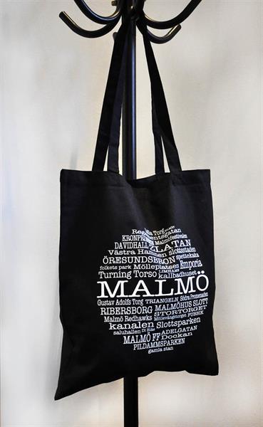 Tygkasse, Malmö, svart/vit text