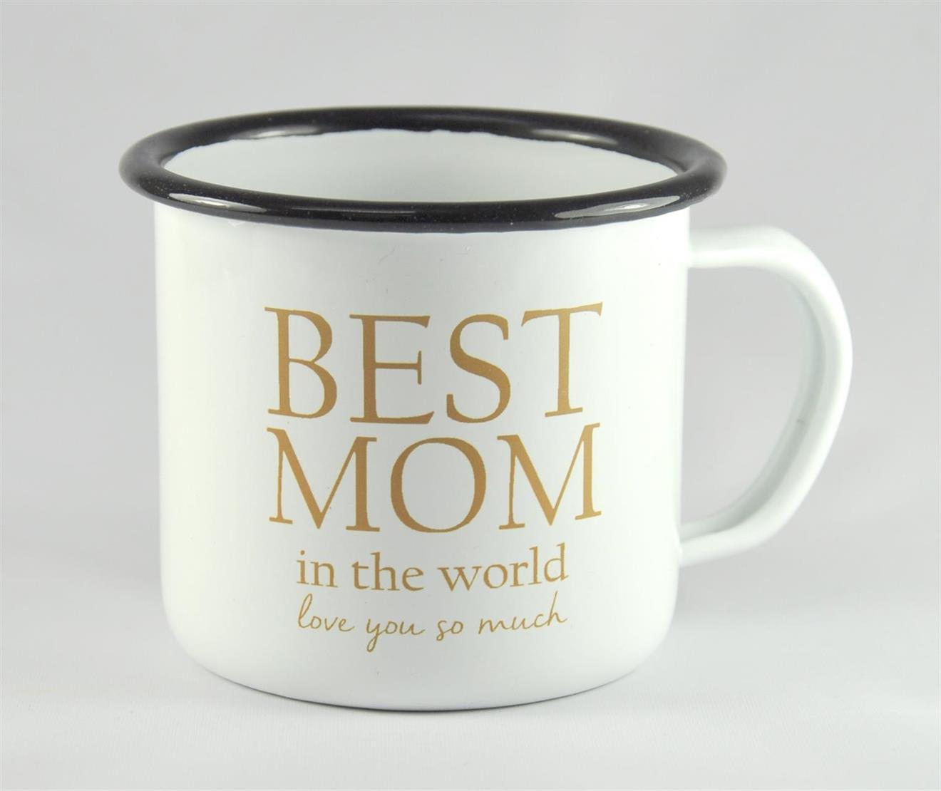 Emaljmugg, Best Mom, vit/guldtext