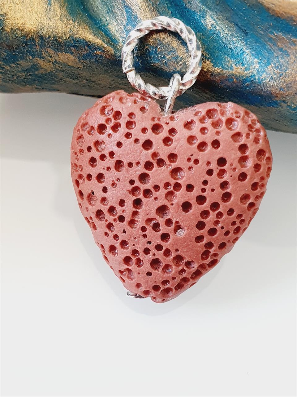 Hänge hjärta lava röd tegel -dofthänge