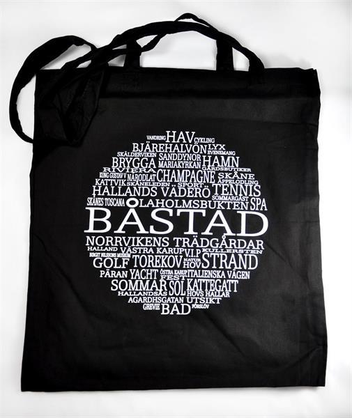 Tygkasse, Båstad, svart/vit text