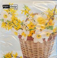 Serviett lunsj Daffodil basket 3lag 20stk
