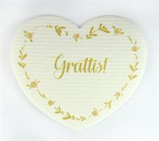 Disktrasa-hjärta, Grattis!, vit/rosa-guld text