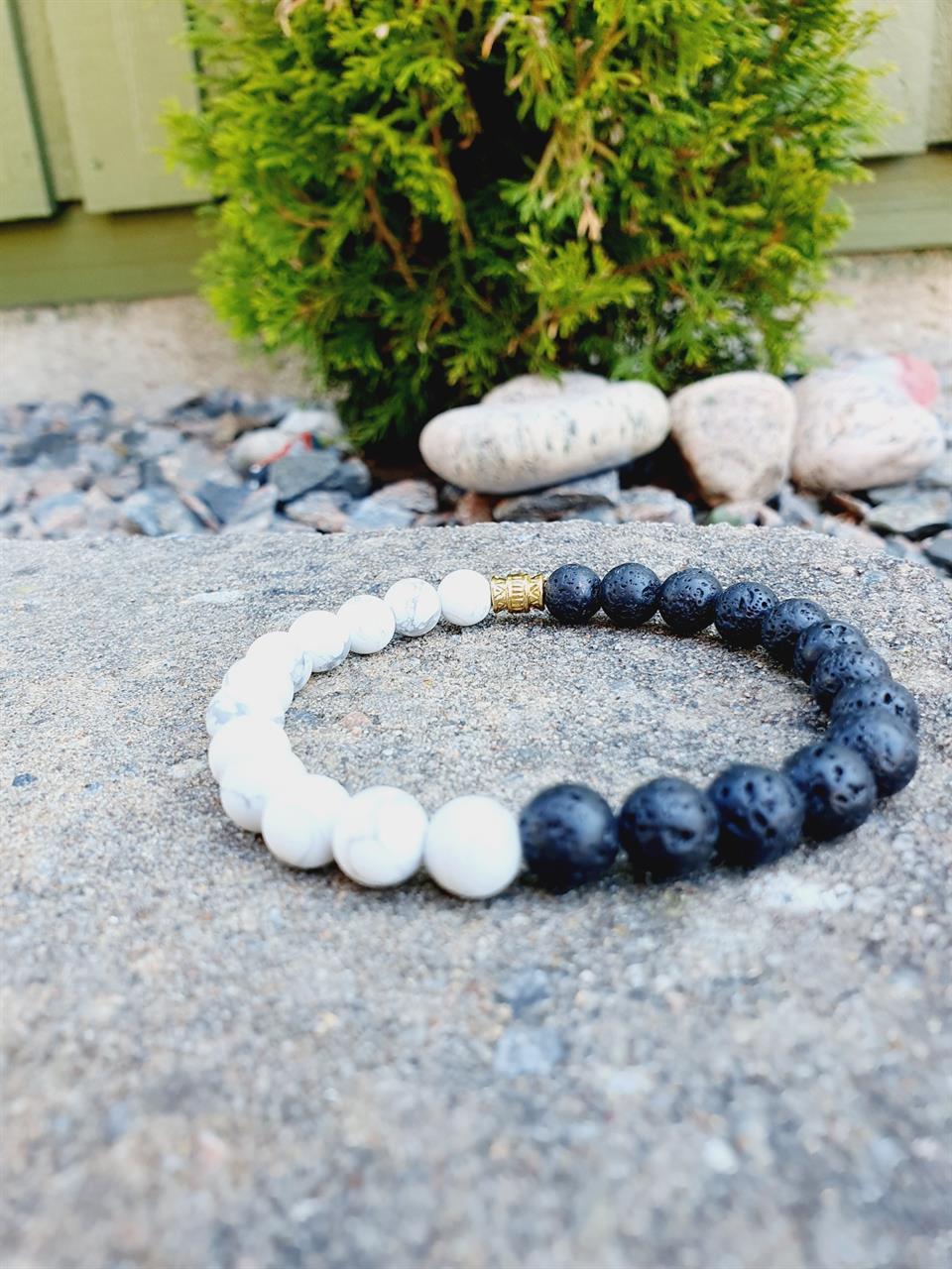 Armband Herr  med  svart-vita stenar