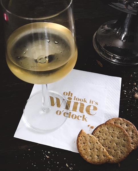 Servetter, Wine o clock, vit/guldtext, 25-p