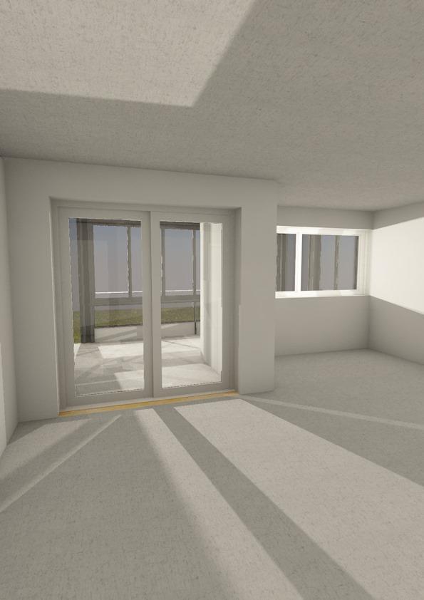 Innenfra mot balkong, sett fra leilighet i firkantblokk