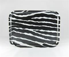 Bricka 27x20 sm, Zebra, svart/vit