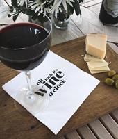 Servetter, Wine o clock, vit/svart text, 25-p