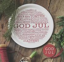 Bricka rund 31 cm, God Jul-ord, vit/röd text