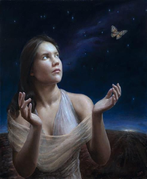 Terje Adler Mørk - Painted lady with distant storm