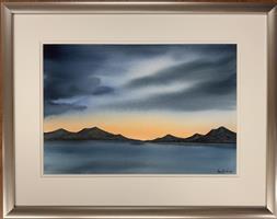 Åse Juul - Kveld ved kysten - akvarell m/ramme