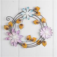 Krans med blommor, att hänga, metall