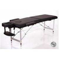 Massagebänk i aluminium, svart