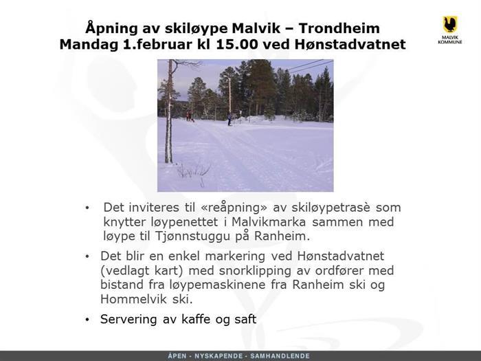 Åpning av skiløypa Tjønnstuggu - Malvik