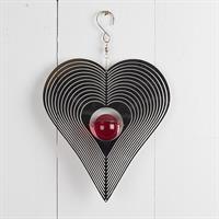 Vindspel hjärta, röd kula, rostfritt