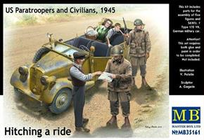 US Paratroopers and Civilians, 1945 Hitching a rid
