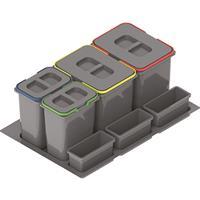 Källsortering 938 Praktico med lösa lock, 2x15lit + 2x7lit