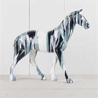 Häst, svart vit och grå, massiv, poly
