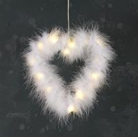 Hjärta, vit fluff, hänge, LED